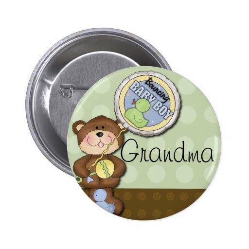 Teddy Bear Boy Brown Green Pinback Button