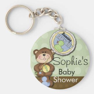 Teddy Bear Boy Brown Green Basic Round Button Key Ring