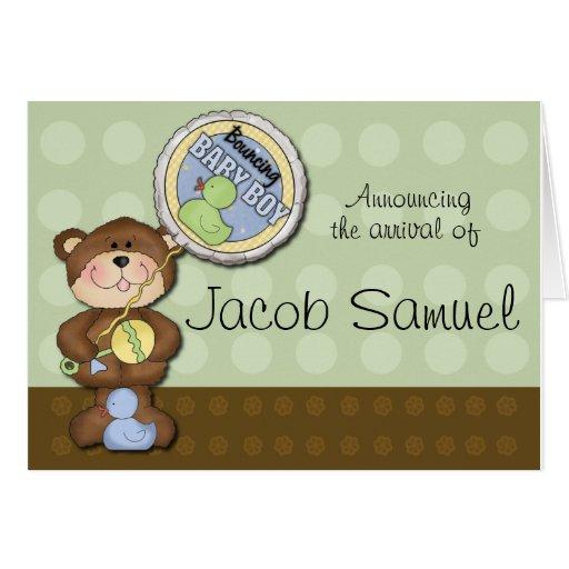 Teddy Bear Boy Brown Green Greeting Cards