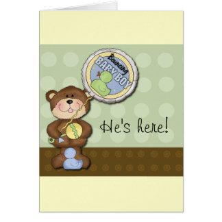 Teddy Bear Boy Brown Green Note Card