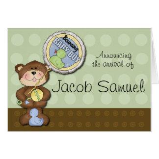 Teddy Bear Boy Brown Green Greeting Card