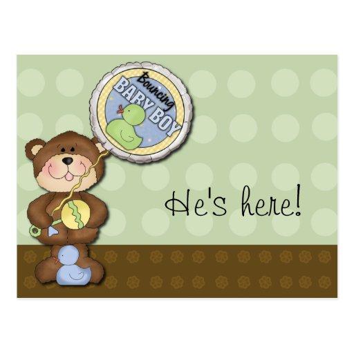 Teddy Bear Boy Brown Green Post Cards