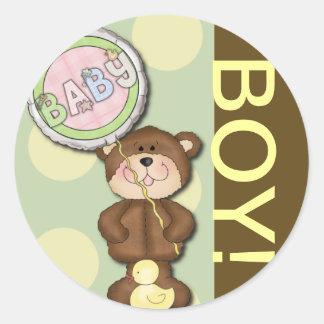 Teddy Bear Boy Brown Green Round Sticker