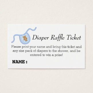 Teddy Bear Boys Baby Shower Diaper Raffle Ticket