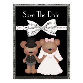 Teddy Bear Bride & Groom Wedding Postcard