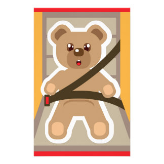 Teddy Bear buckle Up Customized Stationery