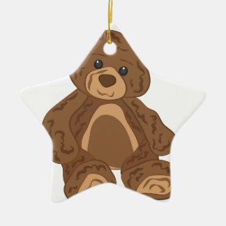 Teddy Bear Ceramic Star Decoration