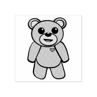 Teddy Bear Character Rubber Stamp