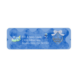 Teddy Bear Charm Boy Blue Baby Shower Return Address Label