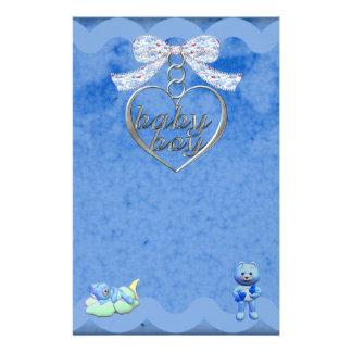 Teddy Bear Charm Boy Blue Baby Shower Stationery Paper
