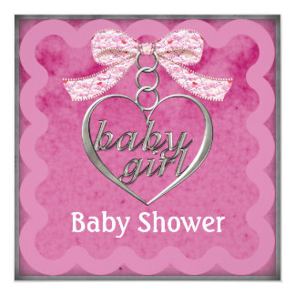 """Teddy Bear Charm Girl Pink Baby Shower 5.25"""" Square Invitation Card"""