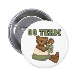 Teddy Bear Cheerleader Green Tshirts Pinback Buttons