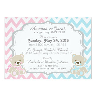 Teddy Bear Chevron Cross Twins Boy Girl Baptism Card