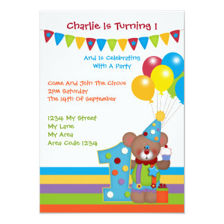 Teddy Bear Clown First Birthday Party Personalized Announcement