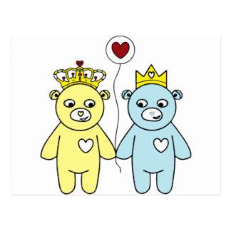 teddy bear couple postcard