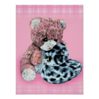 Teddy bear cuddles baby pink print