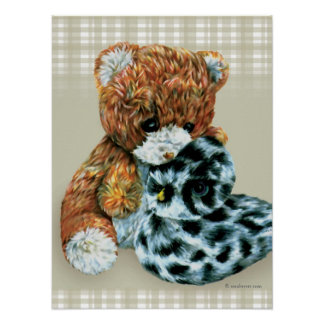 Teddy bear cuddles  print poster