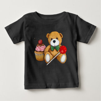 Teddy Bear, Cupcake, and Lollipop, Illustration Baby T-Shirt