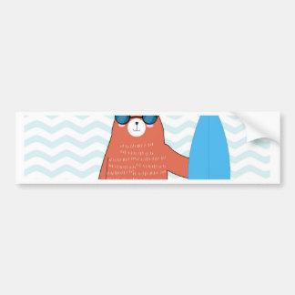 Teddy bear cute adorable beach funny theme bumper sticker
