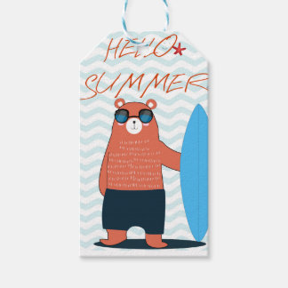Teddy bear cute adorable beach funny theme gift tags