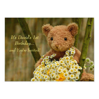 Teddy Bear & Daisies Invitation