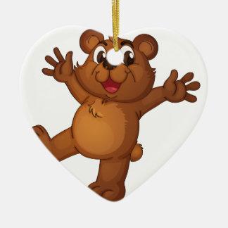 Teddy bear ceramic heart ornament