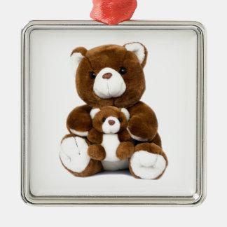 teddy bear Silver-Colored square decoration