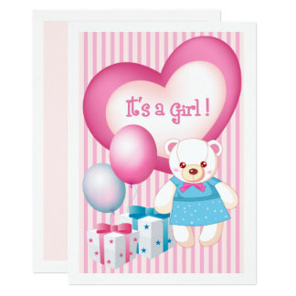 Teddy Bear design Baby Girl Birth Announcements