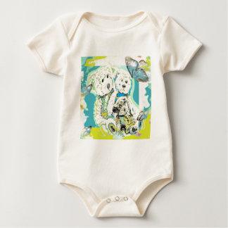 Teddy Bear Design Blue & Green Baby Bodysuit