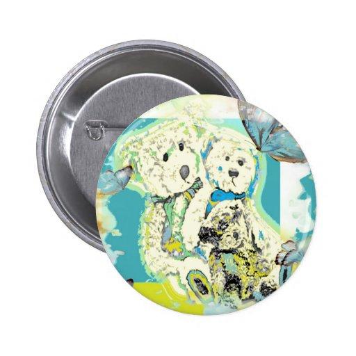Teddy Bear Design Blue & Green Pin