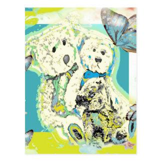 Teddy Bear Design Blue & Green Postcard