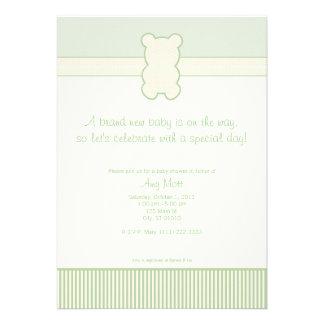 Teddy Bear - Dots & Stripes - Green & Cream Custom Invite