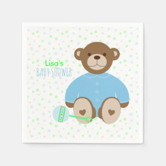 Teddy Bear Dressed in Blue Baby Shower Disposable Serviettes