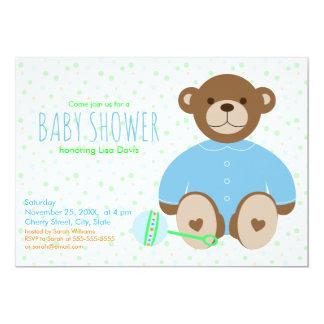 Teddy Bear Dressed in Blue Baby Shower Invitation