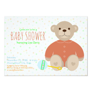 Teddy Bear Dressed in Coral Baby Shower Invitation