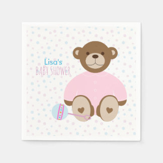 Teddy Bear Dressed in Pink Baby Shower Disposable Serviettes