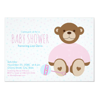 Teddy Bear Dressed in Pink Baby Shower Invitation
