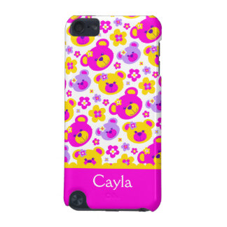 Teddy bear flowers named pink yellow ipod case iPod touch 5G case