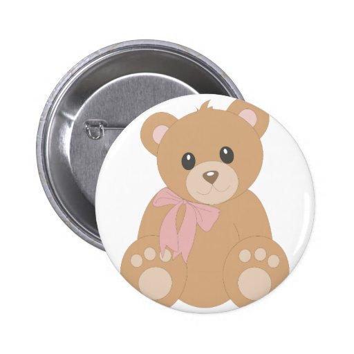 """Teddy Bear"" for Girls Pinback Button"