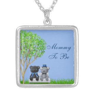 Teddy Bear Friends Boy Baby Shower Necklace