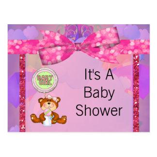 Teddy Bear Girl Glitter Sparkle Baby Shower Postcard