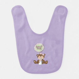 Teddy Bear Girl Lilac Baby Bib