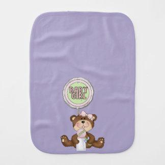Teddy Bear Girl Lilac Baby Burp Cloth