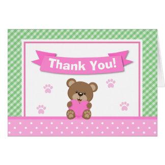 Teddy Bear Girl Thank You Card Folded Note Card