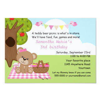Teddy Bear Girl's Picnic Birthday Card