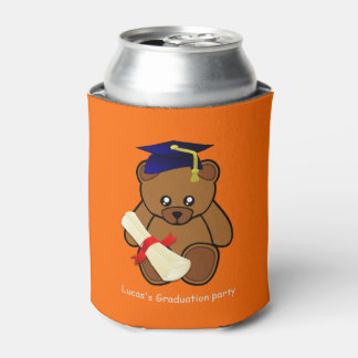 teddy bear graduation in neon  orange can cooler