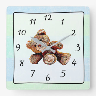Teddy Bear Green and Blue Baby's Nursery Clock