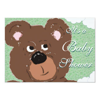 Teddy Bear (green) Baby Shower 13 Cm X 18 Cm Invitation Card