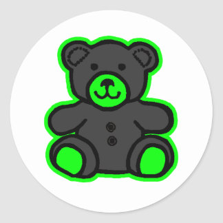 Teddy Bear Green Black The MUSEUM Zazzle Gifts Round Stickers