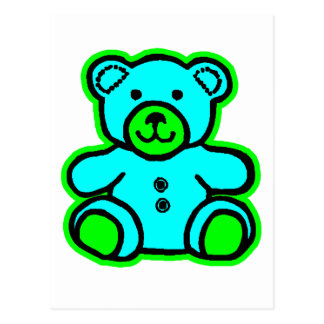 Teddy Bear Green Cyan The MUSEUM Zazzle Gifts Post Cards